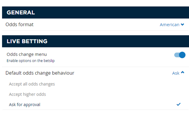 Approving odds change on a bet bluesq betting tips